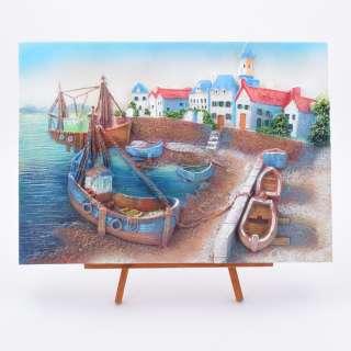 картина пластик Лодки в заливе, 24х33