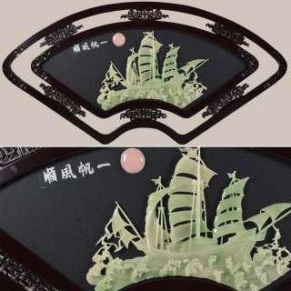 картина веер зеленый парусник под натур. камень в ажурной раме