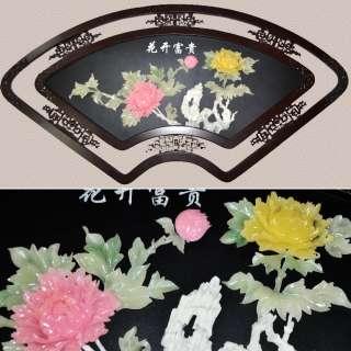 картина веер 2 цветка под натур. камень в ажурной раме коричневая овал