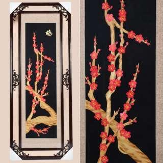Картина из соломки в ажурной раме 47х117 см Веточки сакуры