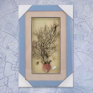 картина из морских ракушек на бежевом фоне 24х37