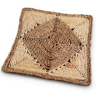 Сервировочный коврик плетеный квадратный 30х30 см с ромбом бежево-коричневый