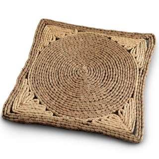 Сервировочный коврик плетеный квадратный 30х30 см с кругом бежево-коричневый