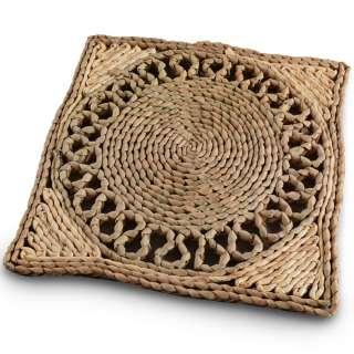 Сервировочный коврик плетеный квадратный 30х30 см с ажурным кругом бежево-коричневый