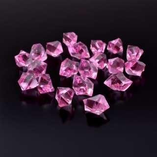 Кристаллы акрил 1,5x1,5x2,5 см розовые упаковка 180 шт