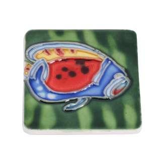 Магнит сувенирный керамика глазурь 6 х 6 см рыба голубо красная с желтым