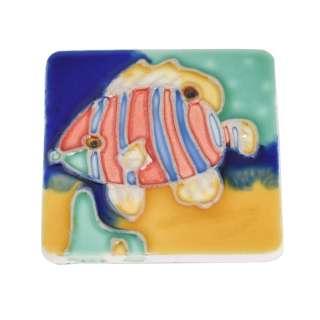Магнит сувенирный керамика глазурь 6 х 6 см рыба полосатая голубо-алая