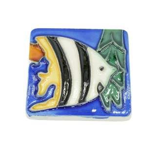 Магнит сувенирный керамика глазурь 6 х 6 см рыба скалярия