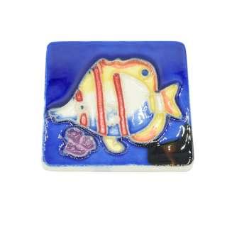 Магнит сувенирный керамика глазурь 6 х 6 см рыба бабочка