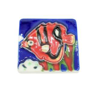 Магнит сувенирный керамика глазурь 6 х 6 см рыба дискус красно-черная