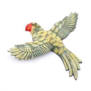 Магнит на холодильник Попугай 13х11см пестрый с пестрыми крыльями