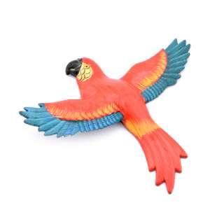 Магнит на холодильник Попугай 13х11см красный с синими крыльями