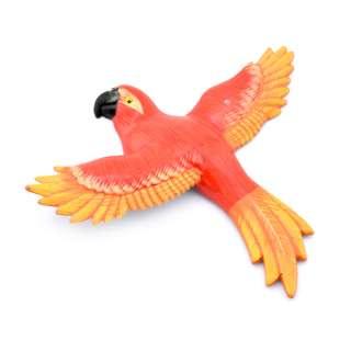 Магнит на холодильник Попугай 13х11см красный с оранжево-желтыми крыльями