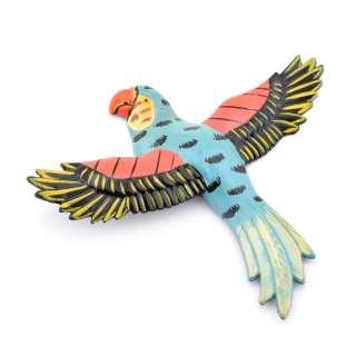 Магнит на холодильник Попугай 13х11см синий с черными крыльями