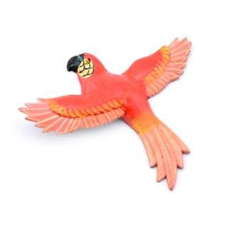 Магнит на холодильник Попугай 13х11см красный с розовыми крыльями