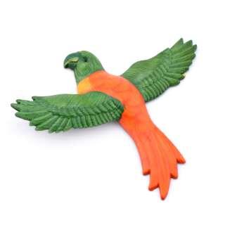Магнит на холодильник Попугай 13х11см оранжевый с зелеными крыльями