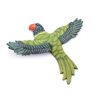 Магнит на холодильник Попугай 13х11см зеленый с пестрыми крыльями