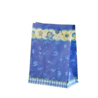 Пакет подарочный 16х12х6 см c каймой желтой цветами синий