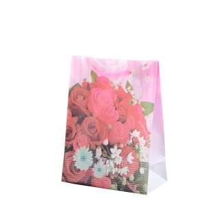 Пакет подарочный 16х12х6 см с розами красными розовый