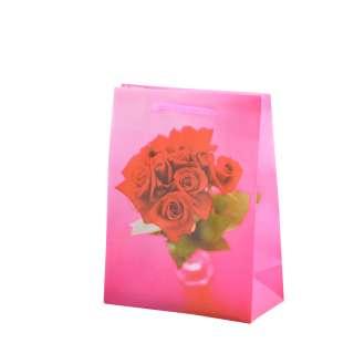 Пакет подарочный 16х12х6 см с розами красными малиновый