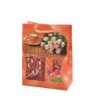 Пакет подарочный 16х12х6 см с чашкой и розами оранжевый