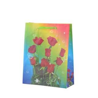 Пакет подарочный 16х12х6 см с розами красными радужный