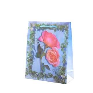Пакет подарочный 16х12х6 см с розами и плющом голубой