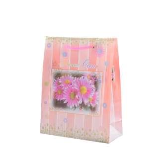 Пакет подарочный 16х12х6 см в полоску с герберами персиковый