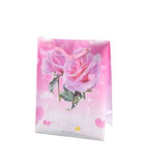 Пакет подарочный 16х12х6 см с розами в сердце розовый