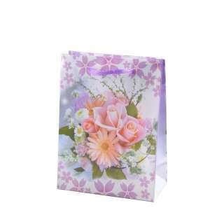 Пакет подарочный 16х12х6 см с букетом герберой бело-фиолетовый