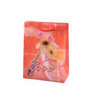 Пакет подарочный 16х12х6 см с букетом и скрипкой Love красный