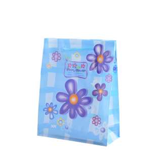 Пакет подарочный 16х12х6 см с ромашками синими голубой