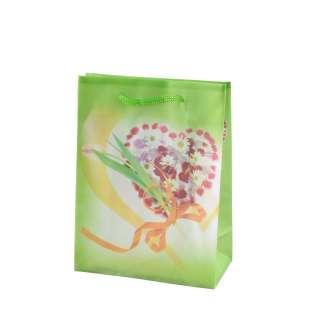 Пакет подарочный 16х12х6 см с сердцем из цветов зеленый