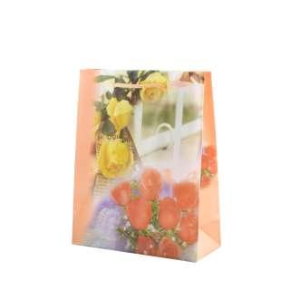 Пакет подарочный 16х12х6 см с розами и забором персиковый