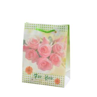 Пакет подарочный 16х12х6 см в клеточку зеленую с розами белый