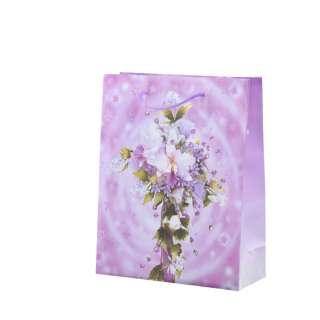 Пакет подарочный 16х12х6 см с букетом лилией сиреневый