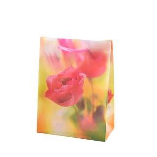 Пакет подарочный 16х12х6 см с розой желтый