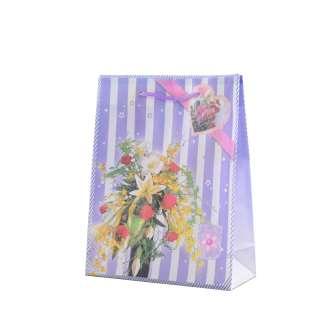 Пакет подарочный 16х12х6 см в полоску с букетом фиолетовый