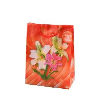 Пакет подарочный 16х12х6 см с лилиями красный
