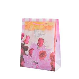 Пакет подарочный 16х12х6 см в полоску с кольцом и розами бело-розовый