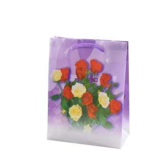 Пакет подарочный 16х12х6 см с розами красно-желтыми фиолетовый