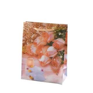 Пакет подарочный 16х12х6 см со свечой персиковый