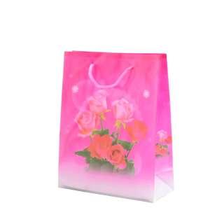 Пакет подарочный 16х12х6 см с розами малиновый