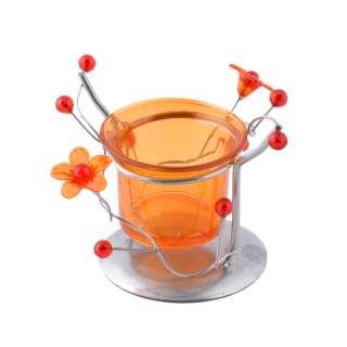 подсвечник мет. серебристый с оранж.цветами, в.7