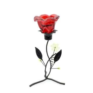 Подсвечник на 1 свечу стакан оранжевый на ножке с цветками 20х9х9 см металл черный