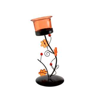 подсвечник металл. черный с оранж. цветами, в.19см