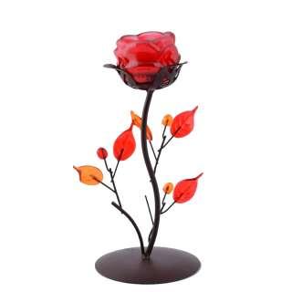 подсвечник мет. черный с оранжево-роз листьями, в.21