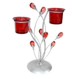 подсвечник мет. серебр. Рубиновые цветы