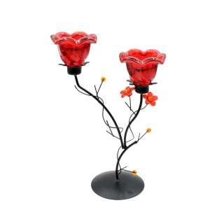 Подсвечник колокольчик красный с цветами на 2 свечи 25х17х9 см металл черный