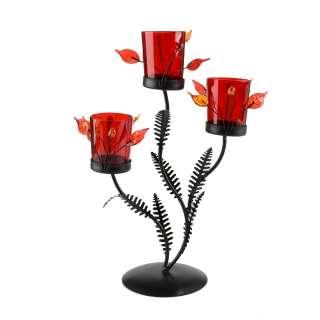 Подсвечник роза красная с листьями на 3 свечи 30х22х11 см металл коричневый